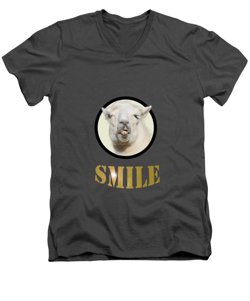 Alpaca Smile  Men's V-Neck T-Shirt by Rob Hawkins