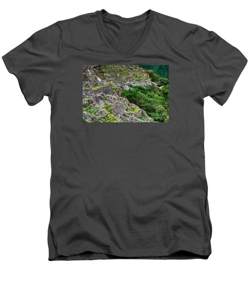 Alpacas At Machu Picchu Men's V-Neck T-Shirt