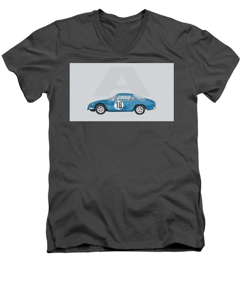 Men's V-Neck T-Shirt featuring the mixed media Alpine A110 by TortureLord Art