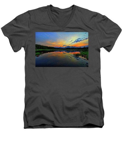 Men's V-Neck T-Shirt featuring the photograph Alpine Lake Glow by Scott Mahon