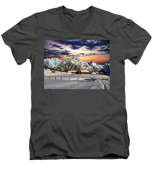 Alpine Winter Scene Men's V-Neck T-Shirt