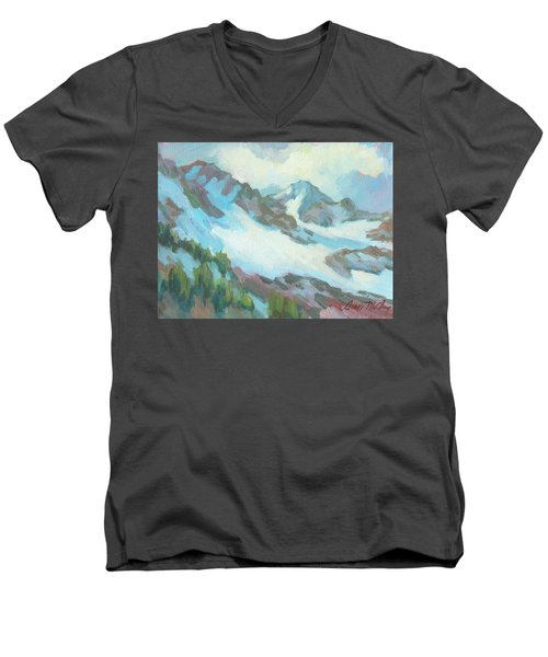 Men's V-Neck T-Shirt featuring the painting Alps In Switzerland by Diane McClary