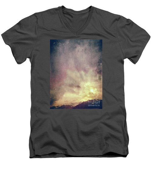 Men's V-Neck T-Shirt featuring the photograph Alps With Dramatic Sky by Silvia Ganora