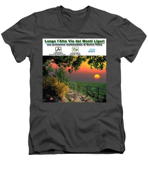 Alta Via Dei Monti Liguri Cd Case Label Men's V-Neck T-Shirt