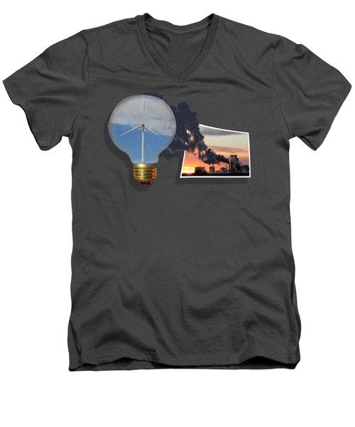 Alternative Energy Men's V-Neck T-Shirt by Shane Bechler
