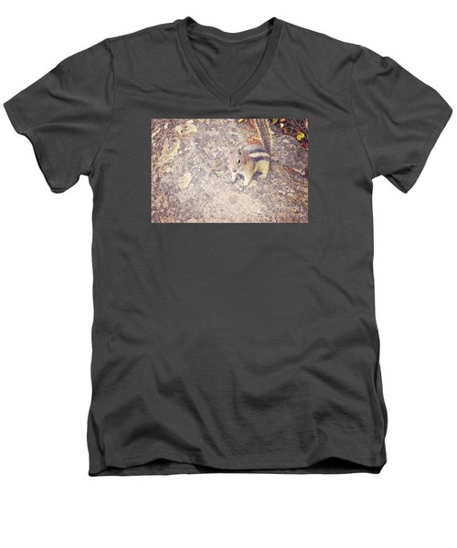 Men's V-Neck T-Shirt featuring the photograph Alvin The Chipmunk by Janie Johnson