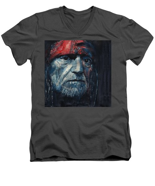 Men's V-Neck T-Shirt featuring the painting Always On My Mind - Willie Nelson  by Paul Lovering
