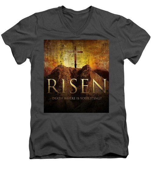 Always Risen Men's V-Neck T-Shirt by David Norman