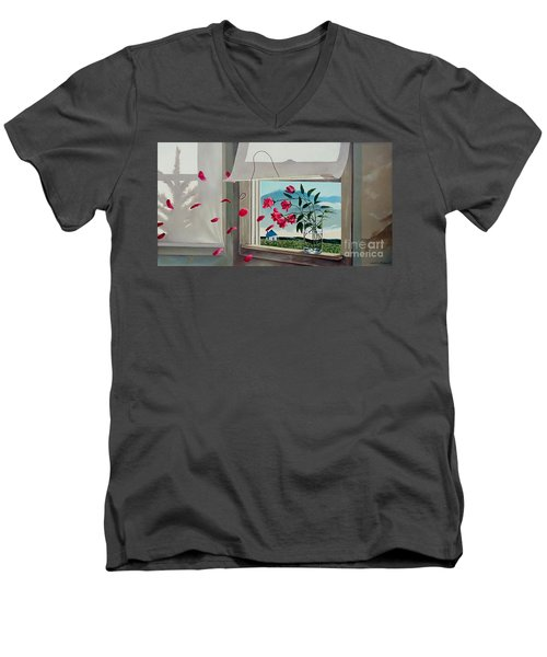Men's V-Neck T-Shirt featuring the painting Always With You by Christopher Shellhammer