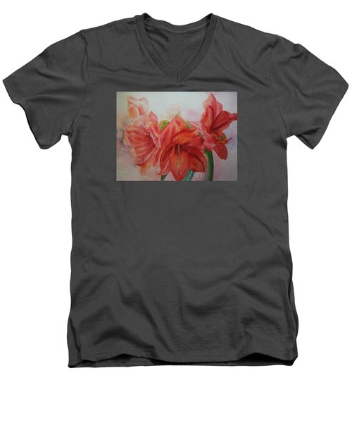 Amarylis Men's V-Neck T-Shirt by Ruth Kamenev