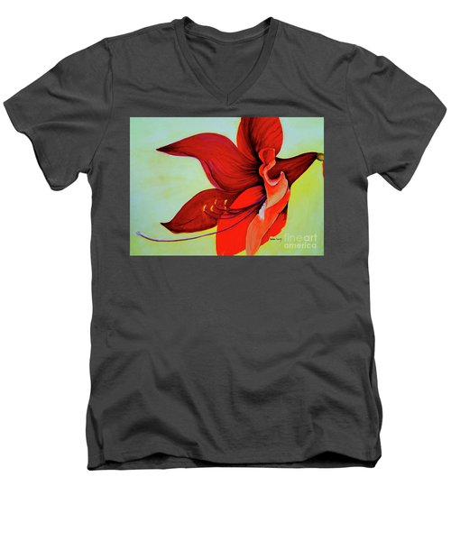 Men's V-Neck T-Shirt featuring the painting Amaryllis Blossom by Rachel Lowry