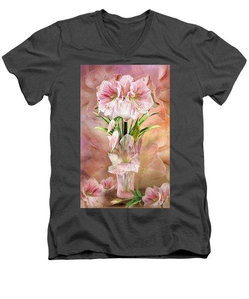 Men's V-Neck T-Shirt featuring the mixed media Amaryllis In Amaryllis Vase by Carol Cavalaris