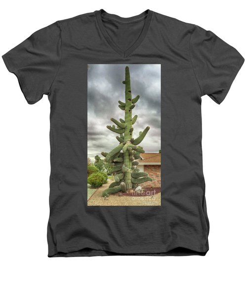 Men's V-Neck T-Shirt featuring the photograph Arizona Christmas Tree by Anne Rodkin