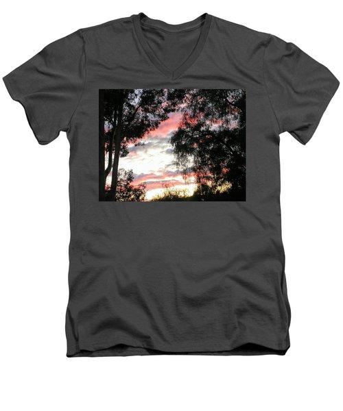 Amazing Clouds Black Trees Men's V-Neck T-Shirt
