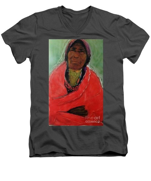 Men's V-Neck T-Shirt featuring the painting Amazing Grace by FeatherStone Studio Julie A Miller