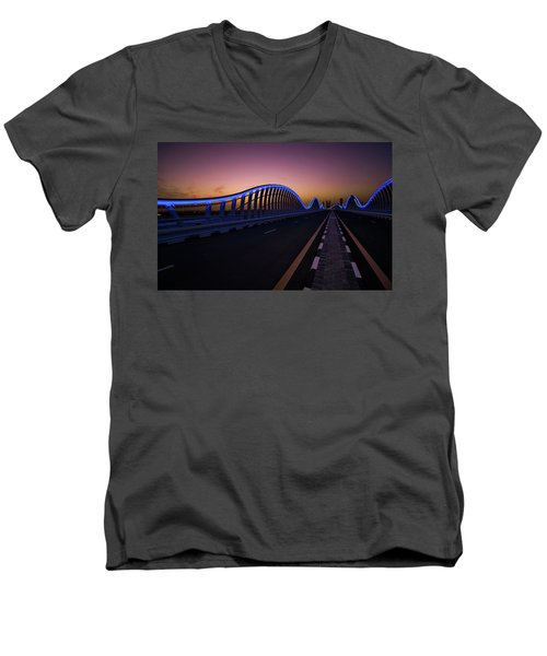 Amazing Night Dubai Vip Bridge With Beautiful Sunset. Private Ro Men's V-Neck T-Shirt