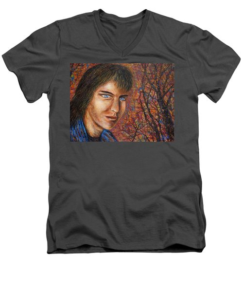 Men's V-Neck T-Shirt featuring the painting Amber Glow by Natalie Holland
