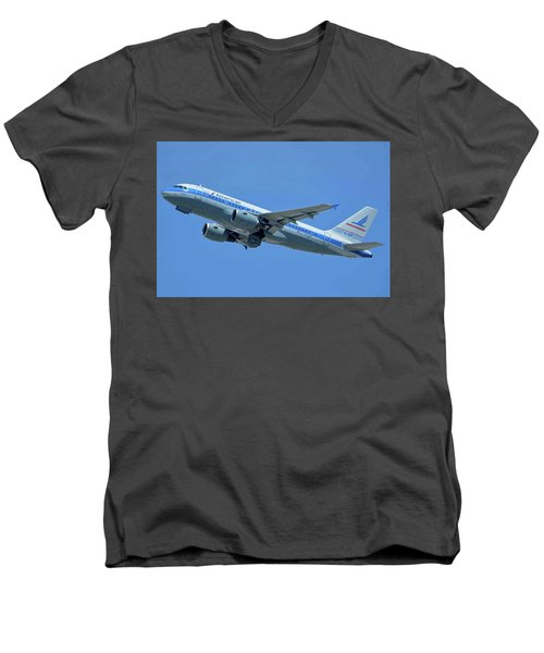 Men's V-Neck T-Shirt featuring the photograph American Airbus A319-0112 N744p Piedmont Pacemaker Los Angeles International Airport May 3 20 by Brian Lockett