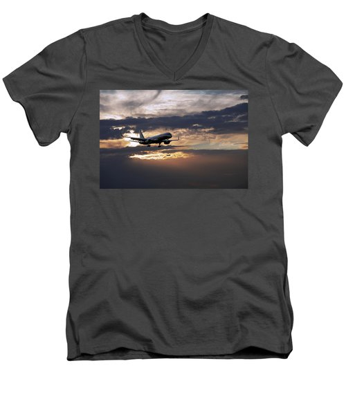 American Aircraft Landing At The Twilight. Miami. Fl. Usa Men's V-Neck T-Shirt