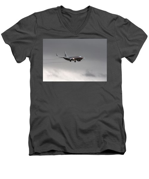 American Airlines-landing At Dfw Airport Men's V-Neck T-Shirt