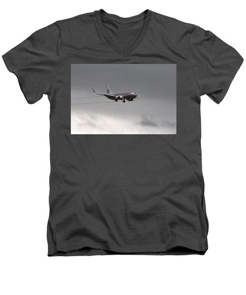 American Airlines-landing At Dfw Airport Men's V-Neck T-Shirt by Douglas Barnard