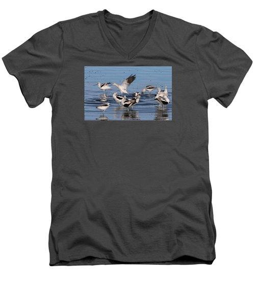 American Avocet's Taking A Break Men's V-Neck T-Shirt by Dorothy Cunningham