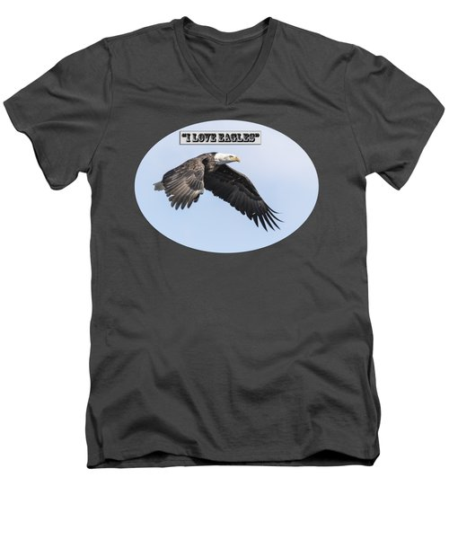 Men's V-Neck T-Shirt featuring the photograph American Bald Eagle 2015-25 Isolated by Thomas Young