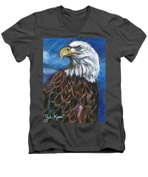 American Bald Eagle Men's V-Neck T-Shirt by John Keaton
