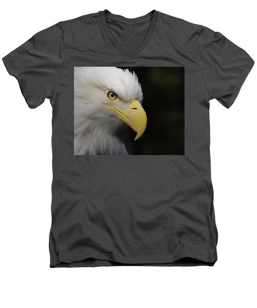 Men's V-Neck T-Shirt featuring the digital art American Bald Eagle Portrait 4 by Ernie Echols