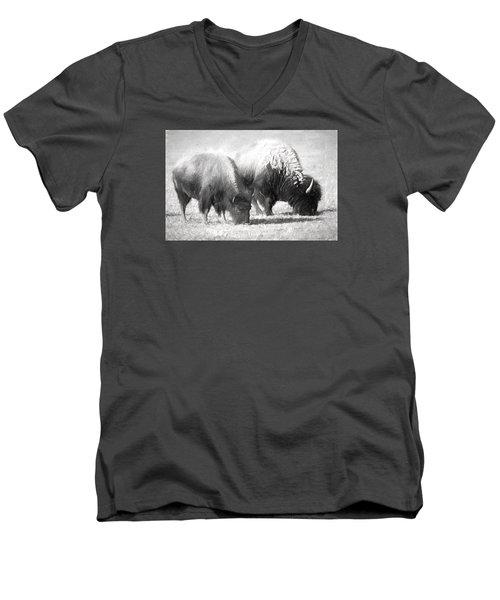 American Bison In Charcoal Men's V-Neck T-Shirt