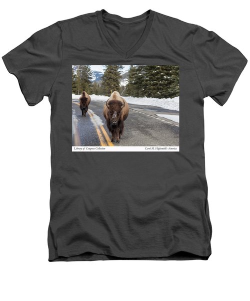 Men's V-Neck T-Shirt featuring the photograph American Bison In Yellowstone National Park by Carol M Highsmith