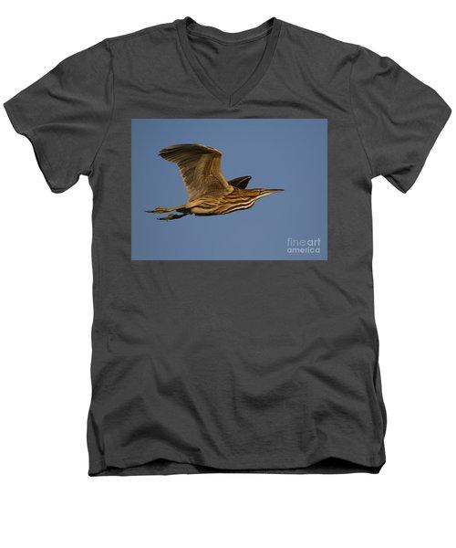 American Bittern Flight Men's V-Neck T-Shirt by Myrna Bradshaw