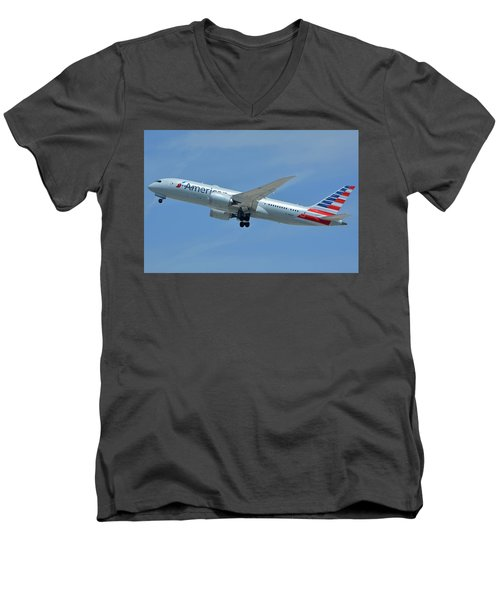 Men's V-Neck T-Shirt featuring the photograph American Boeing 787-8 N808an Los Angeles International Airport May 3 2016 by Brian Lockett