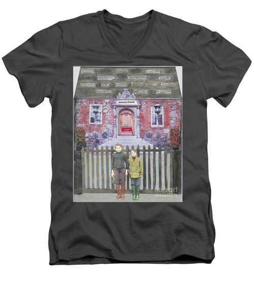Men's V-Neck T-Shirt featuring the mixed media American Dreams by Desiree Paquette