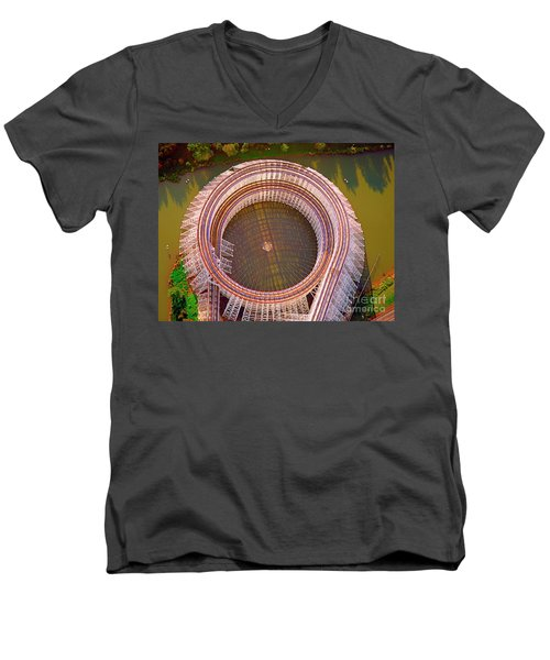 Men's V-Neck T-Shirt featuring the photograph American Eagle Roller Coaster  by Tom Jelen