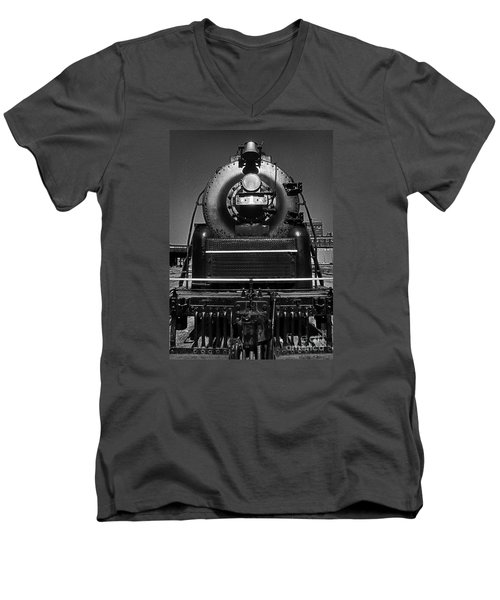 Men's V-Neck T-Shirt featuring the photograph American Freedom Train #1 by Martin Konopacki