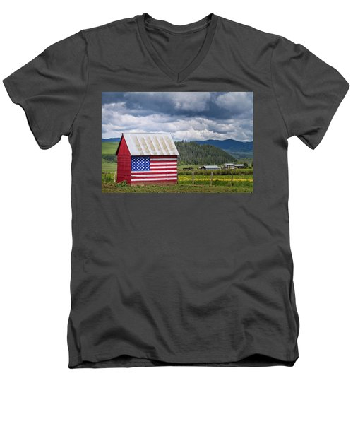 Men's V-Neck T-Shirt featuring the photograph American Landscape by Wesley Aston