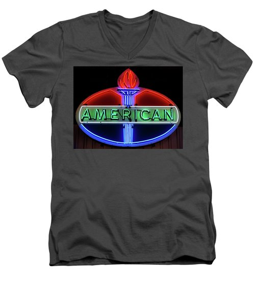 Men's V-Neck T-Shirt featuring the photograph American Oil Sign by Sandy Keeton
