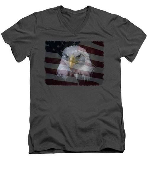 Men's V-Neck T-Shirt featuring the photograph American Pride 2 by Ernie Echols