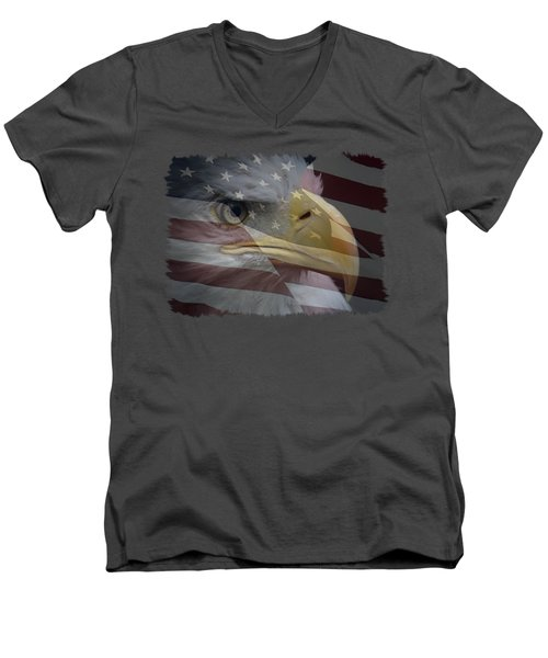 Men's V-Neck T-Shirt featuring the photograph American Pride 3 by Ernie Echols