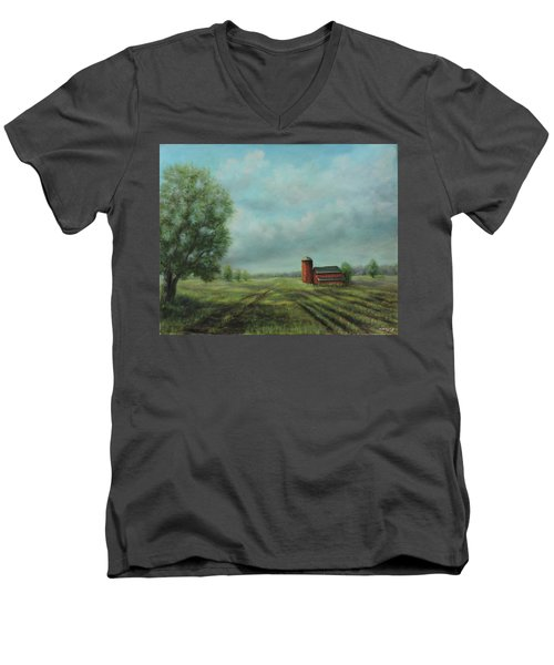 American Scene Red Barn  Men's V-Neck T-Shirt