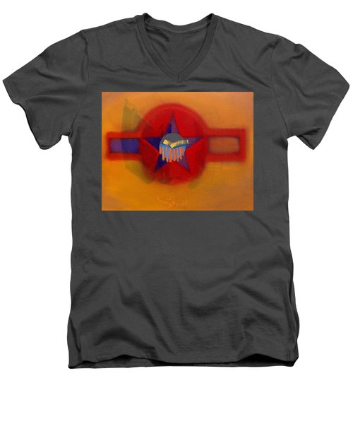 Men's V-Neck T-Shirt featuring the painting American Sub Decal by Charles Stuart