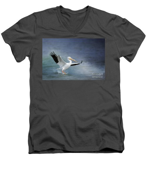 American White Pelican  Men's V-Neck T-Shirt by Bonnie Barry
