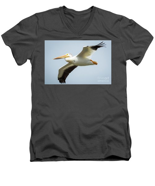 Men's V-Neck T-Shirt featuring the photograph  American White Pelican Flyby  by Ricky L Jones