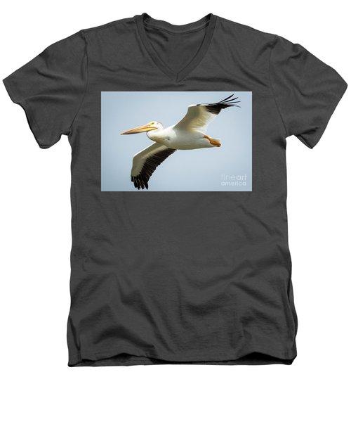 American White Pelican Flyby  Men's V-Neck T-Shirt