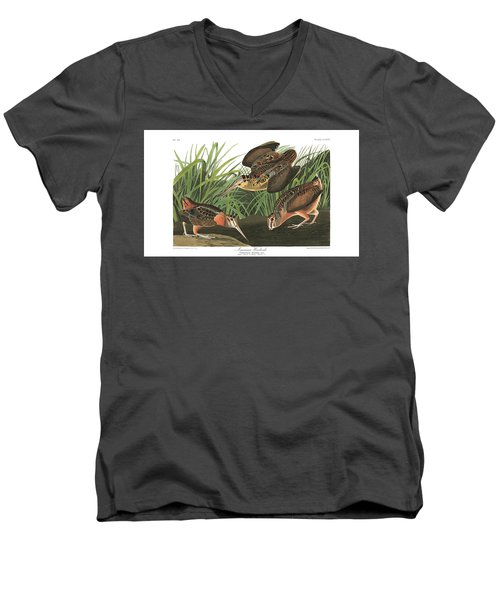 American Woodcock Men's V-Neck T-Shirt by MotionAge Designs