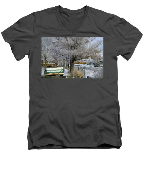 Americana And Hoarfrost Men's V-Neck T-Shirt by Eric Nielsen