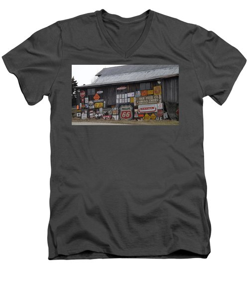 Americana Signs Men's V-Neck T-Shirt by Don Koester