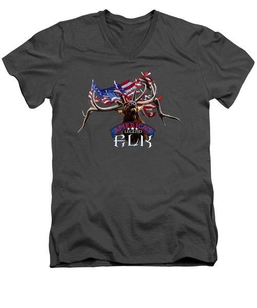 America's Legend Elk Men's V-Neck T-Shirt