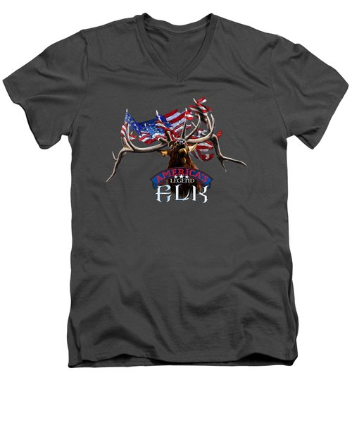 America's Legend Elk Men's V-Neck T-Shirt